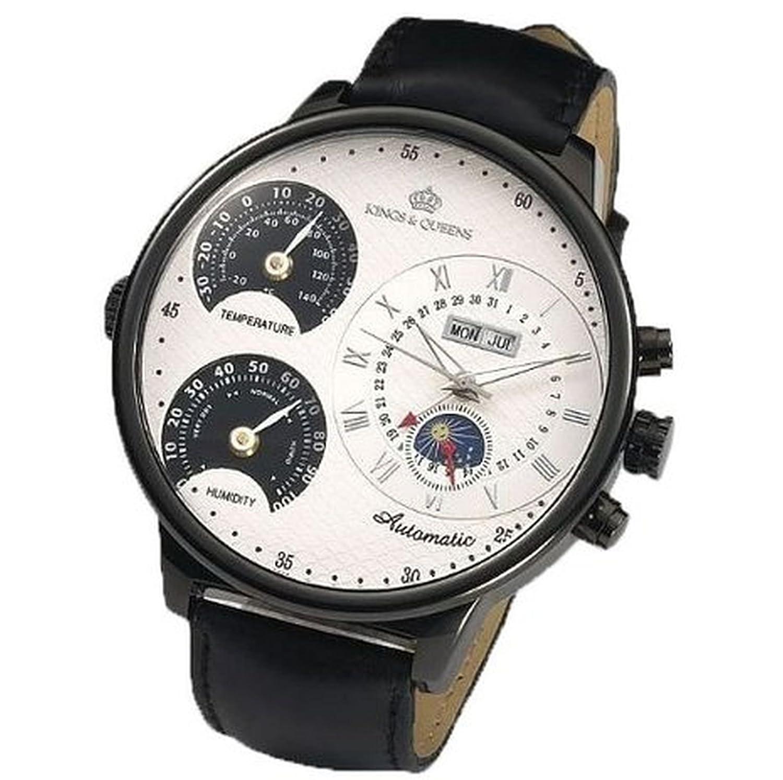 Kings & Queens Herren in ÜbergrÖße 55mm Automatische mechanische Armbanduhr weißes Gesicht KQ4005