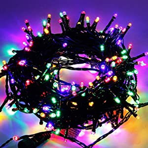Home Lighting 66ft Christmas Decorative Mini Lights, 200 LED Green Wire Fairy Starry String Lights Plug in, 8 Lighting Modes, for Indoor Outdoor Xmas Tree Wedding Party Decoration (Multicolor)