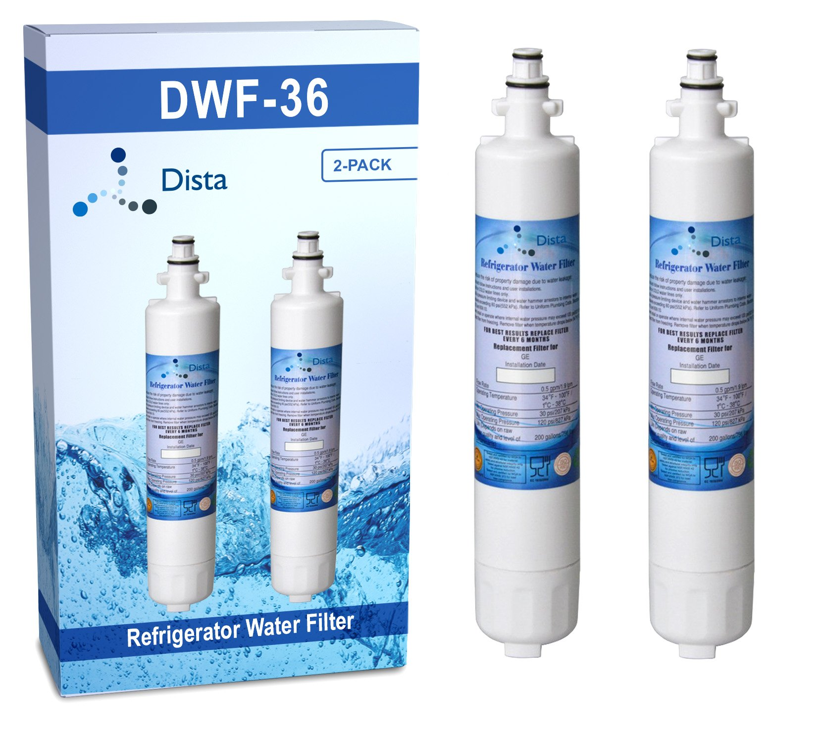 2-Pack - GE RPWF Compatible Replacement Refrigerator Water Filter Cartridge (Not for RPWFE)