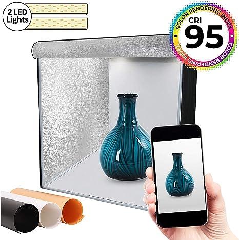 Caja de luz LED de 40x40cm, 2 Luces LED Regulables (5500k) y 3 ...