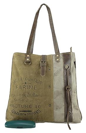 mujer bolsa de mensajero vintage bolsa cruzada de lona militar 45x40x10cm 1804: Amazon.es: Equipaje