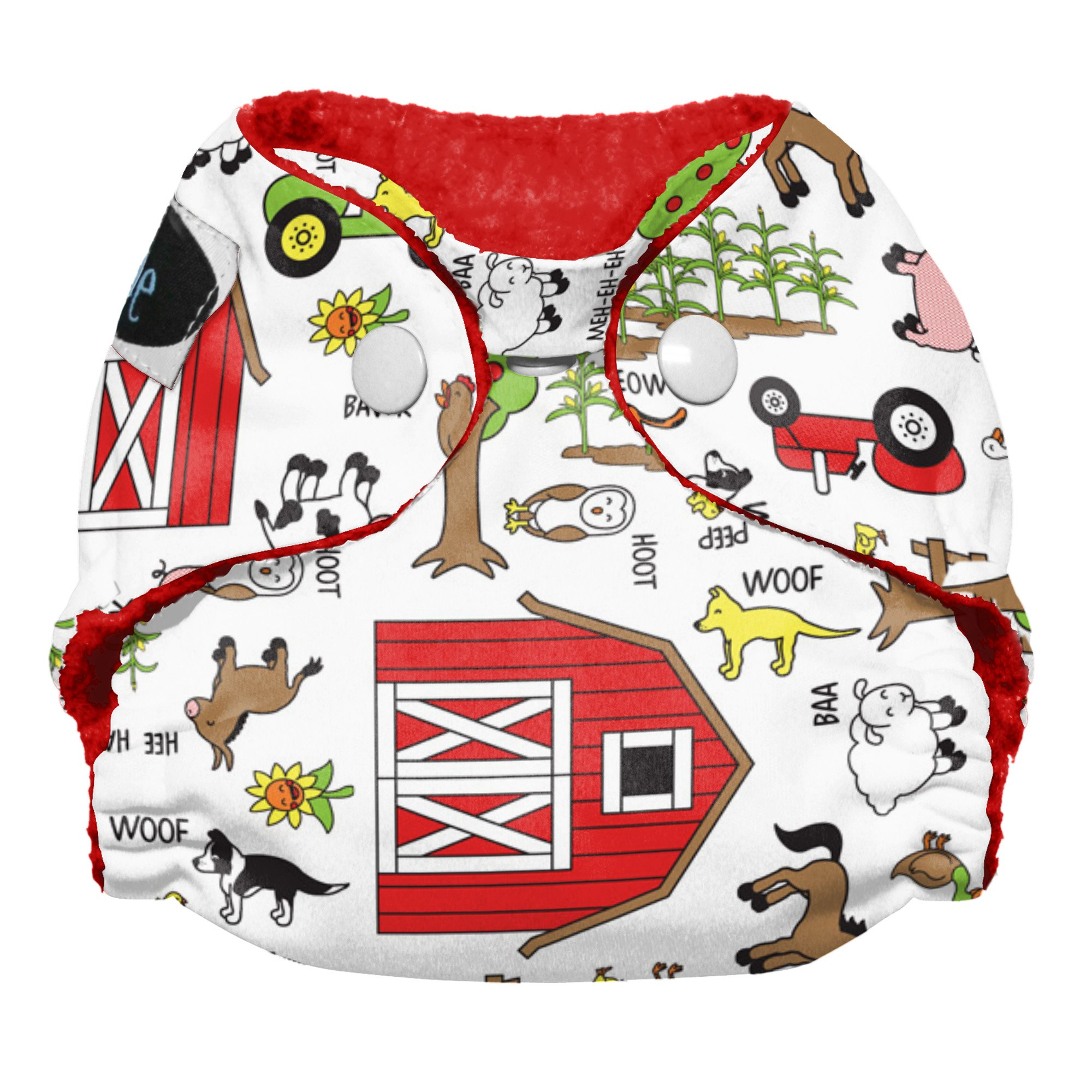 Imagine Baby Products Newborn Stay Dry All-In-One Snap Cloth Diaper, Barnyard Jam