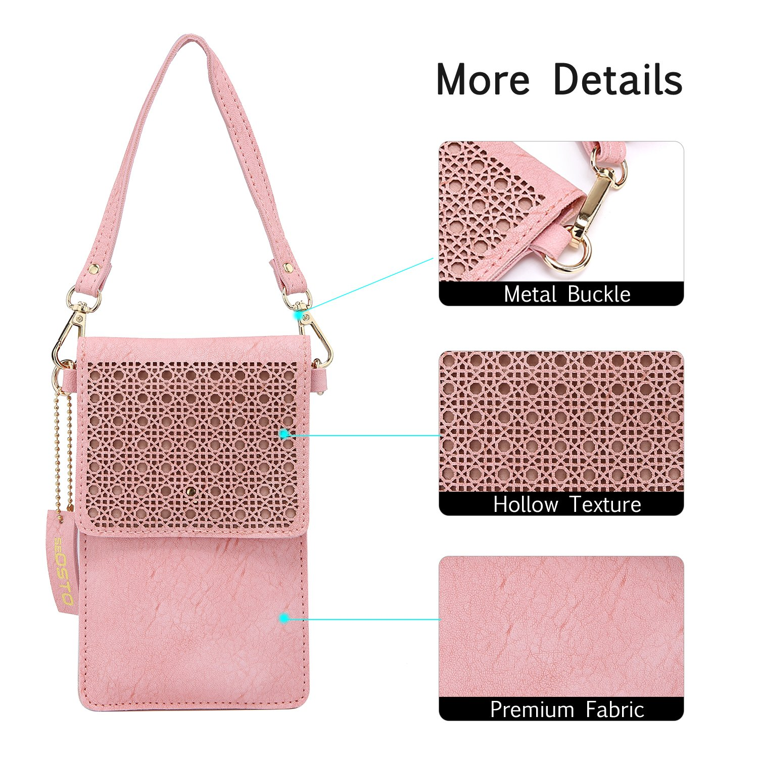 seOSTO Small Crossbody Bag, Cell Phone Purse Smartphone Wallet with 2 Shoulder Strap Handbag for Women (pink) by seOSTO (Image #4)