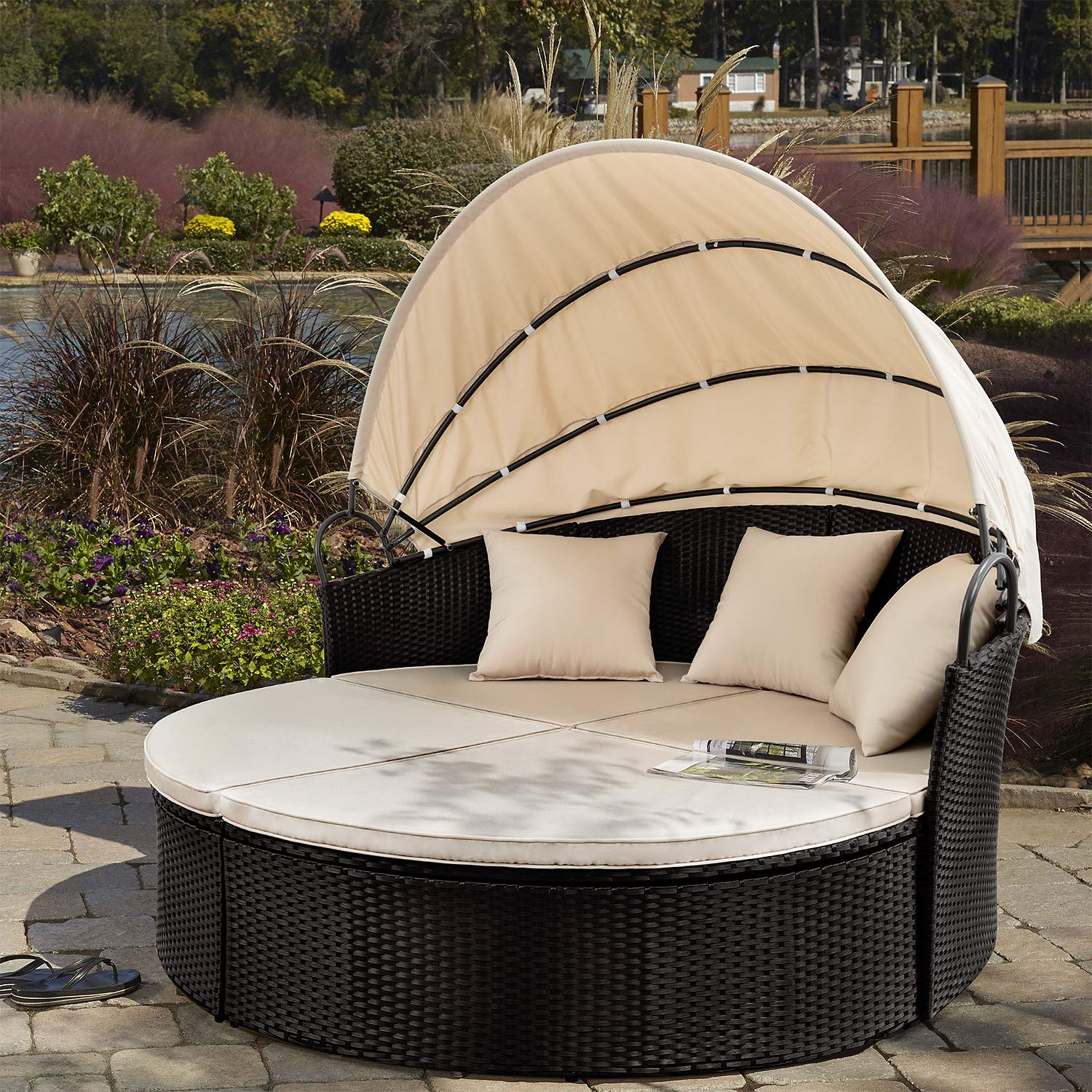 Devoko Outdoor Patio Round Daybed with Retractable Canopy Wicker Rattan Furniture Sectional Sets All-Weather Separated Seating Backyard Porch Pool Daybed with Washable Cushions (Beige) by Devoko