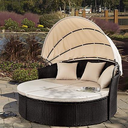 Amazon.com: Devoko - Juego de muebles de mimbre para patio ...