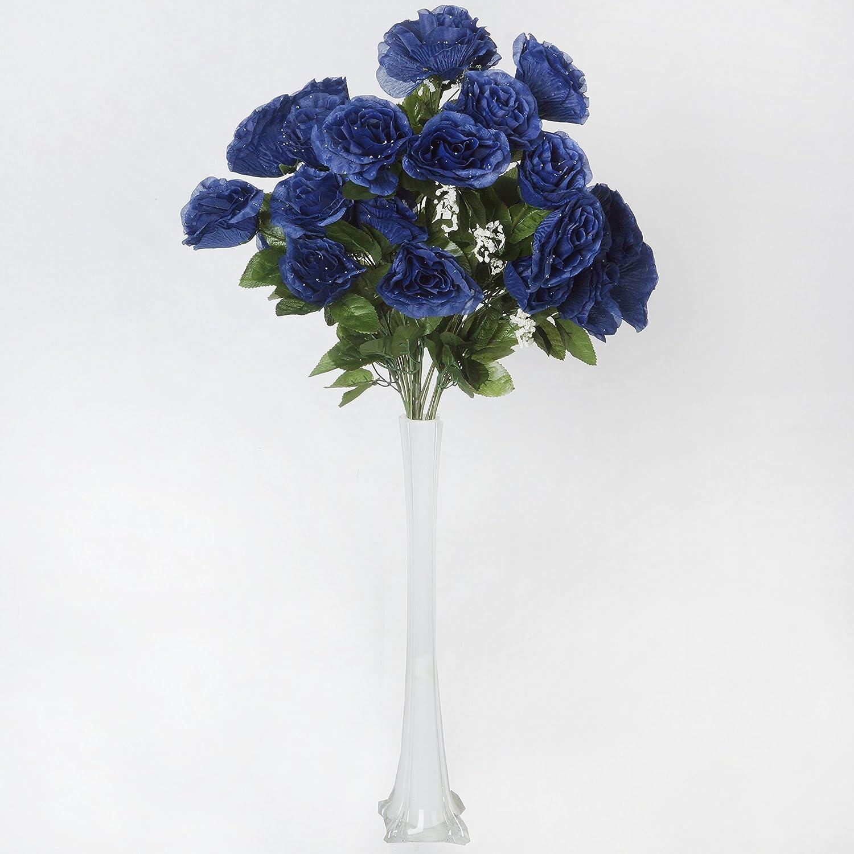 Amazon.com: BalsaCircle 96 Navy Blue Silk Giant Open Roses - 4 ...