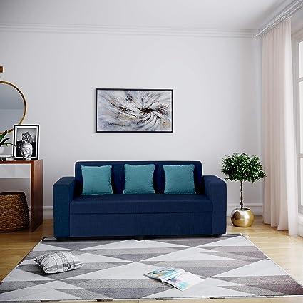 Bharat Lifestyle Desy Fabric 3 Seater Sofa Color Blue
