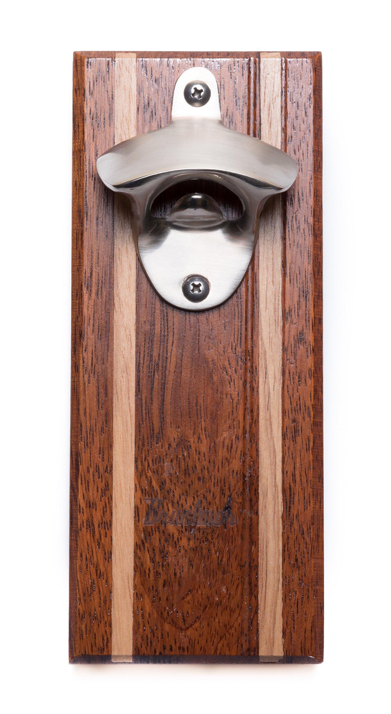 Bruntmor, CAPMAGS Strong Magnetic w/ Zinc Alloy Beer Opener & Cap Catcher - Rubberwood Hand Painted (Merbau)