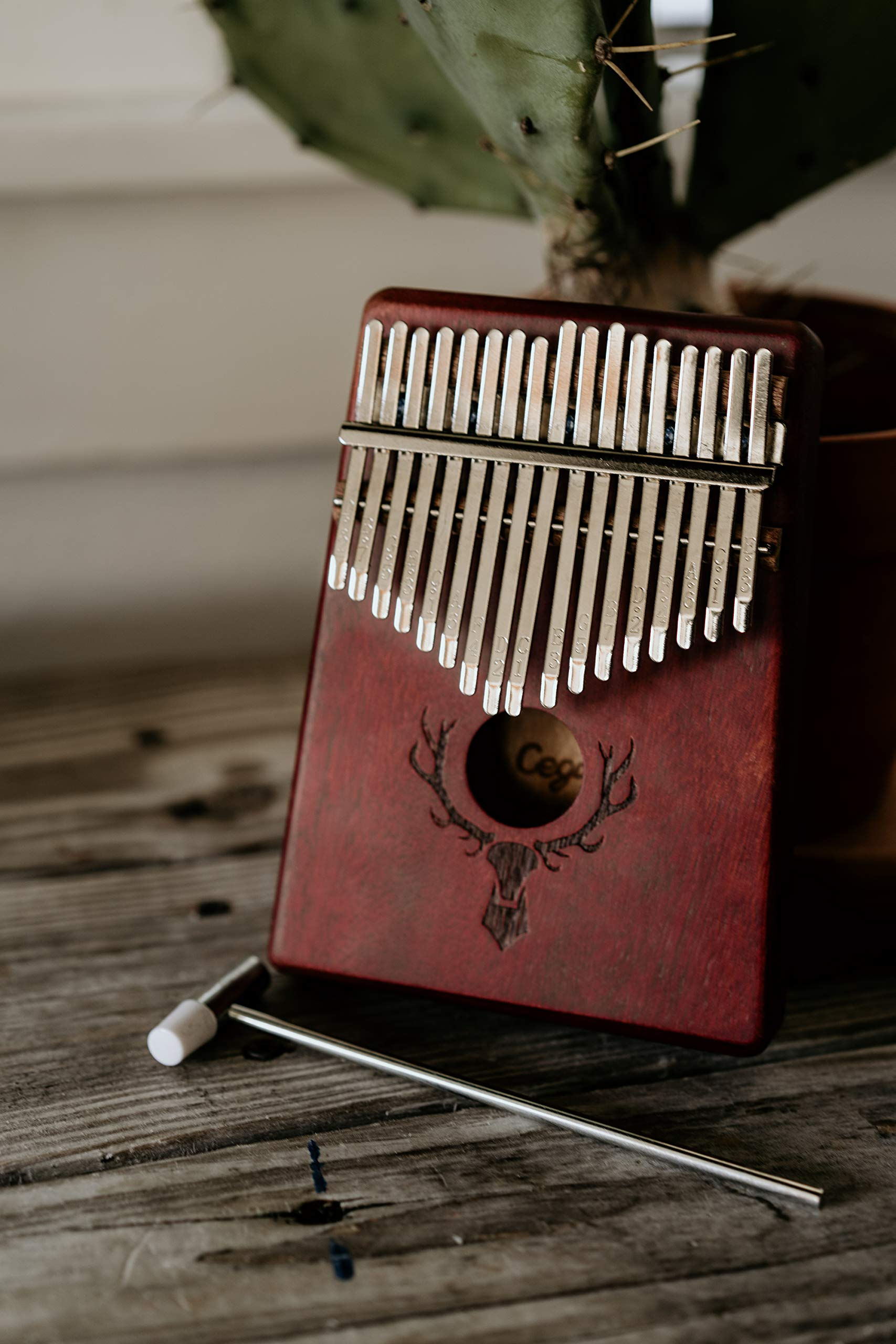 TimberTunes 17 Key Kalimba Thumb Finger Piano Therapy Musical Instrument for Adults Children, Solid Mahogany Wood, Engraved Elk Antler,Tuning Hammer and Music Book, Engraved Keys, Velvet Case, Unique by Timbertunes (Image #7)