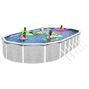 if youre looking for a larger above ground pool for your yard this heritage model might be a good option for you to consider it is a large oval shaped