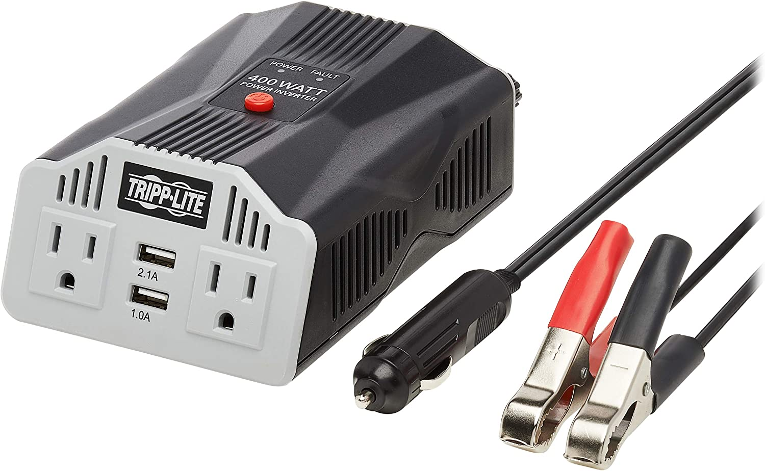 Tripp Lite 200W Car Power Inverter with 2 Outlets & 2 USB Charging Ports, Cup Holder Design, Auto Inverter (PV200CUSB),Gray: Home Audio & Theater