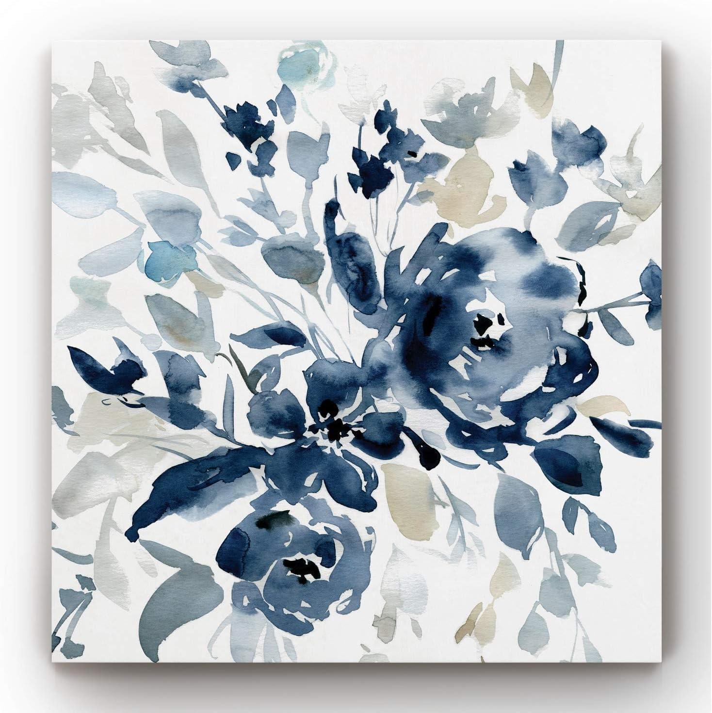Neutral Color Wall Art, Wall Décor Canvas, Beaches, Floral, Animals, Bohemian, & Vintage Styles, Ready to Hang -Indigo Garden I 32X32