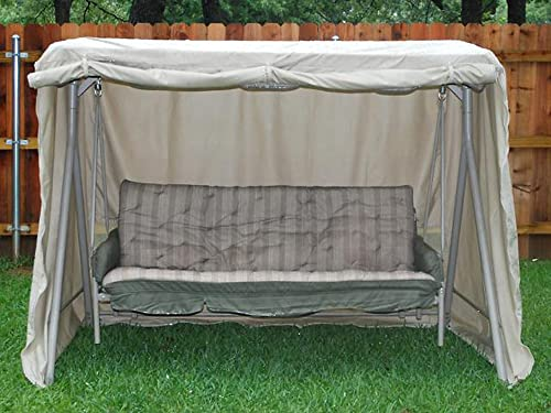 Covermates Canopy Swing Cover 86W x 50D x 70H Elite 300D Stock-Dyed Polyester Rustproof Zipper and Grommets Double Stitched Seams 3 YR Warranty Weather Resistant – Khaki