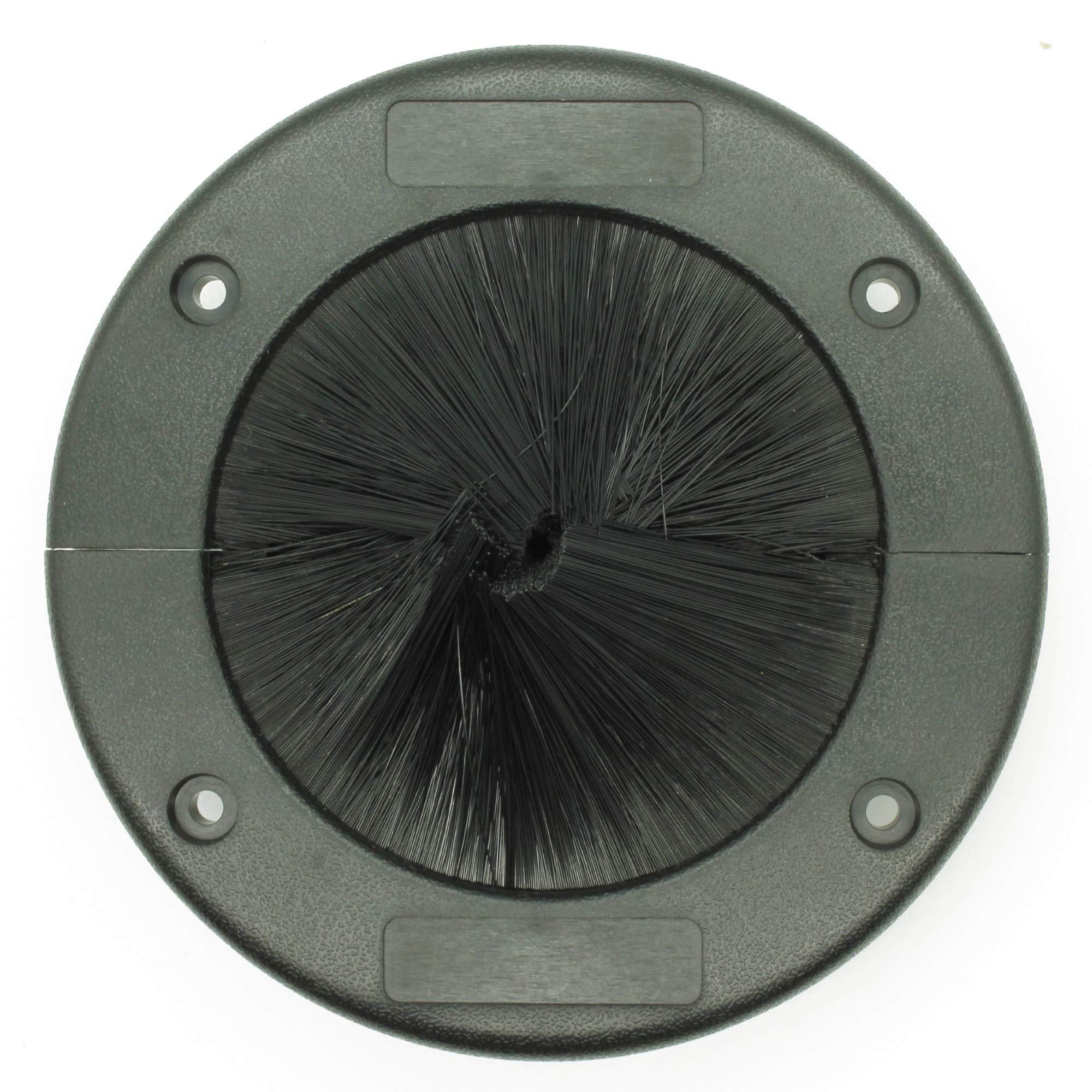 Round Floor Brush Grommet, Large Split Grommet with Brush, Raised Floor Airflow Management 1 Pack