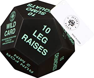 Juliet Paige Exercise Dice for Fitness, Gym Workouts, Crossfit WOD, Kids Physical Education, Home Bodyweight HIIT, and Adult Sports Training - 4 Inches in Diameter - 12 Sided