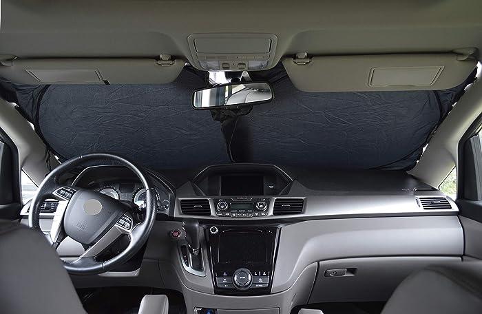 Windshield Sun Shade 240T-Sizechart Images 2-4 Fabric Selection-Chart for Car SUV Trucks Minivans Sunshades Keeps Your Vehicle Cool Heat Shield (Medium)