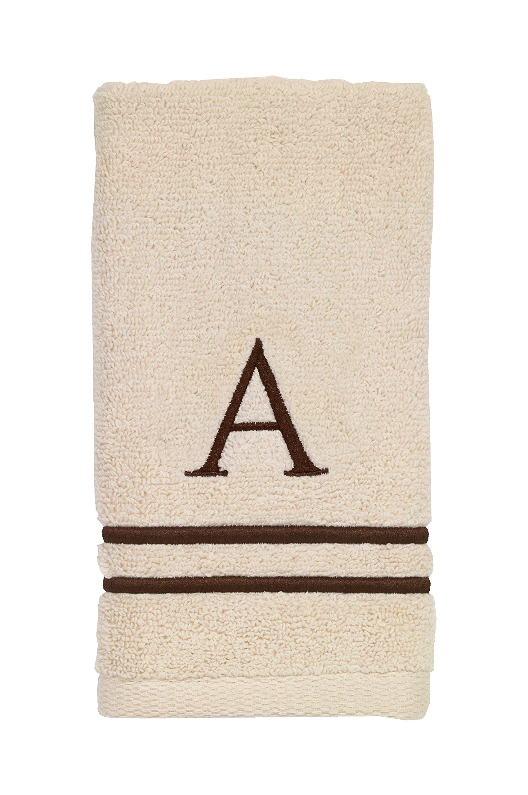 Avanti Linens 050874A Block Monogram Finger Towel, Medium, Ivory/Mocha