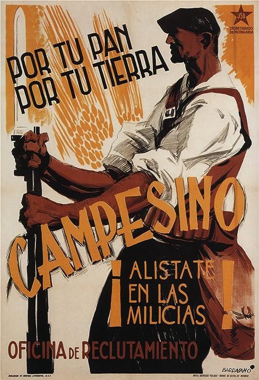 Vintage Guerra Civil Española Propaganda c1937 campesino. Alistarse en las milicias 250 gsm ART tarjeta brillante A3 reproducción de póster: Amazon.es: Hogar