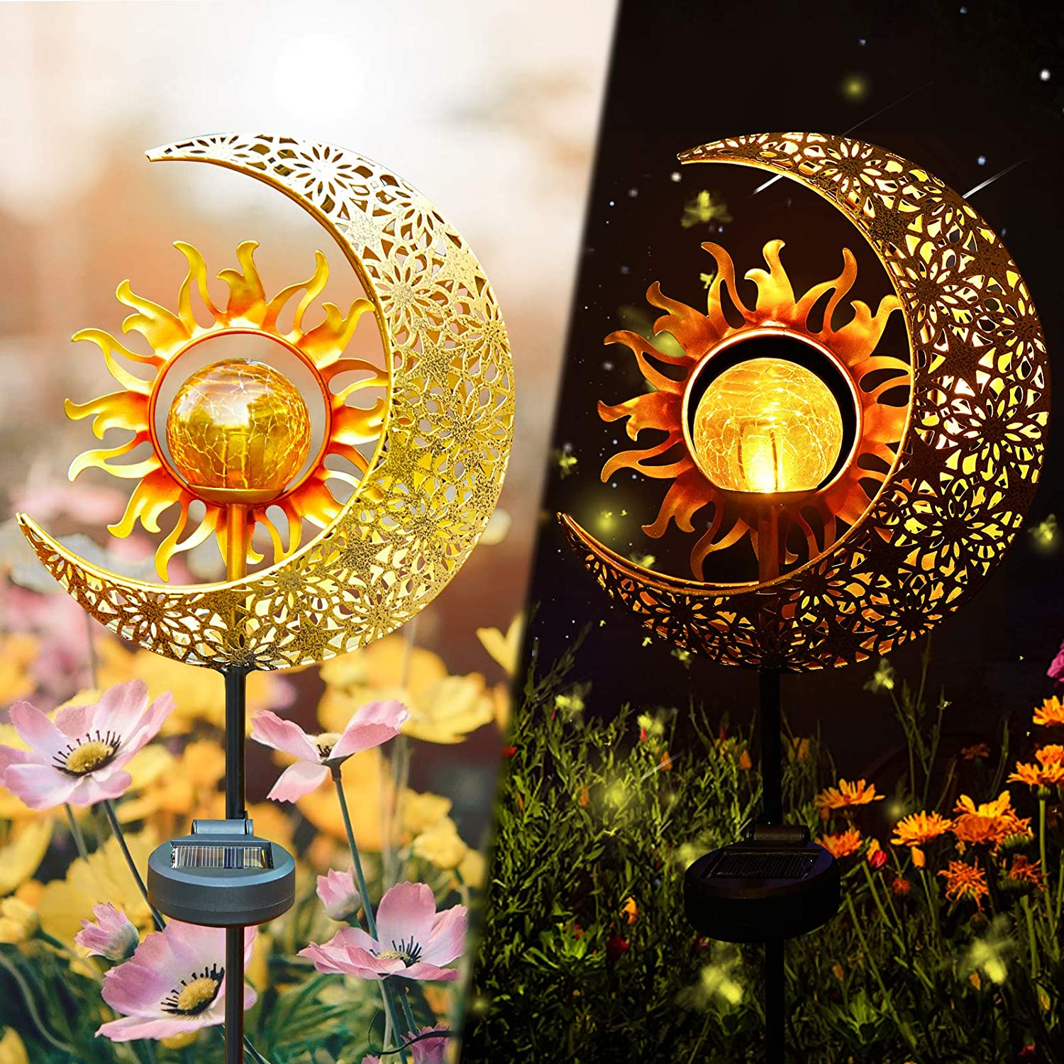 LICKLIP Garden Solar Lights Outdoor Decorative, Sun & Moon Crackle Glass Globe Metal Stake Light, Waterproof Warm White LED Light, Decorations for Pathway Lawn Patio Courtyard Backyard (1 Pack)
