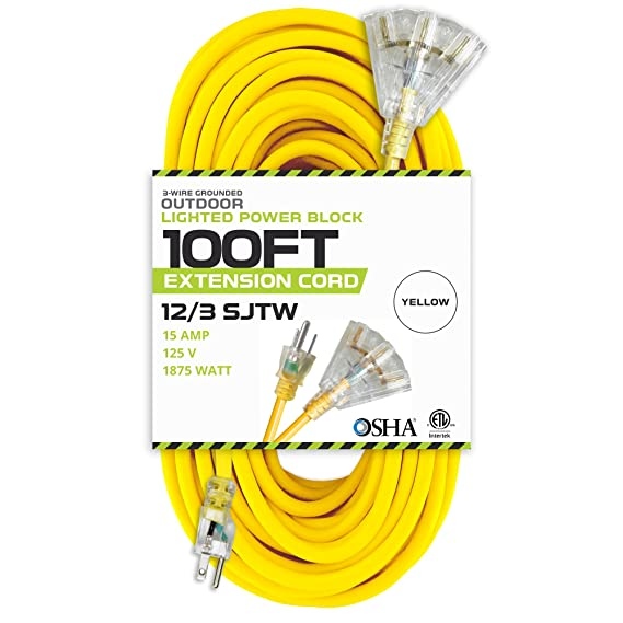 Amazon 100 Foot Lighted Outdoor Extension Cord With 3. Amazon 100 Foot Lighted Outdoor Extension Cord With 3 Electrical Power Outlets 123 Sjtw Heavy Duty Yellow Cable Prong Grounded Plug. Wiring. Ifc 500u Usb Cable Wireing Diagram At Scoala.co