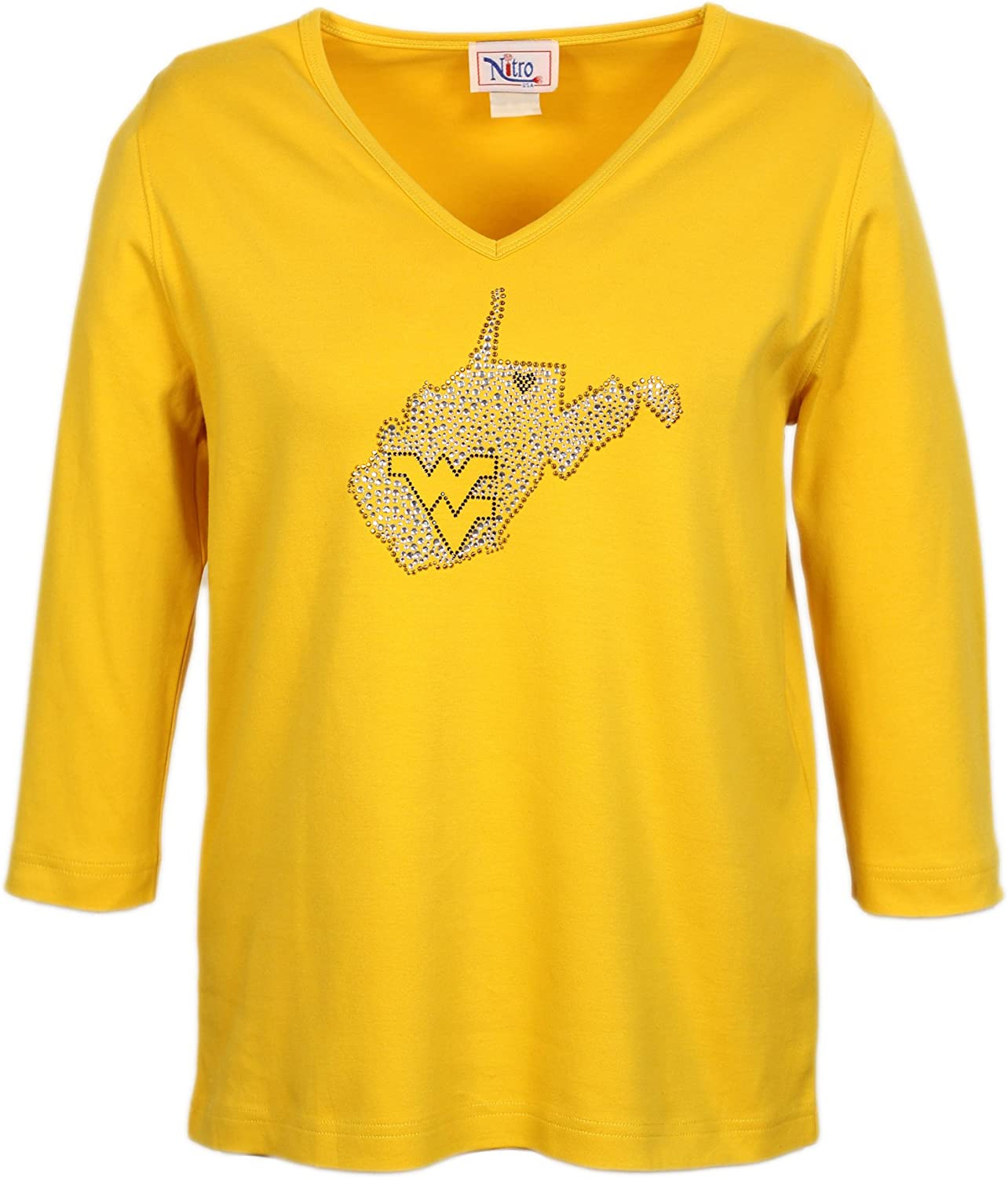 Nitro USA NCAA Womens V-Neck 3//4 Sleeve Top with Rhinestone Filled State Heart WV Design