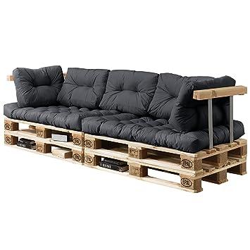 [en.casa]®] Set de 7 Cojines para sofá-palé - Cojines de Asiento + Cojines de Respaldo Acolchados [Gris Oscuro] para europalé In/Outdoor