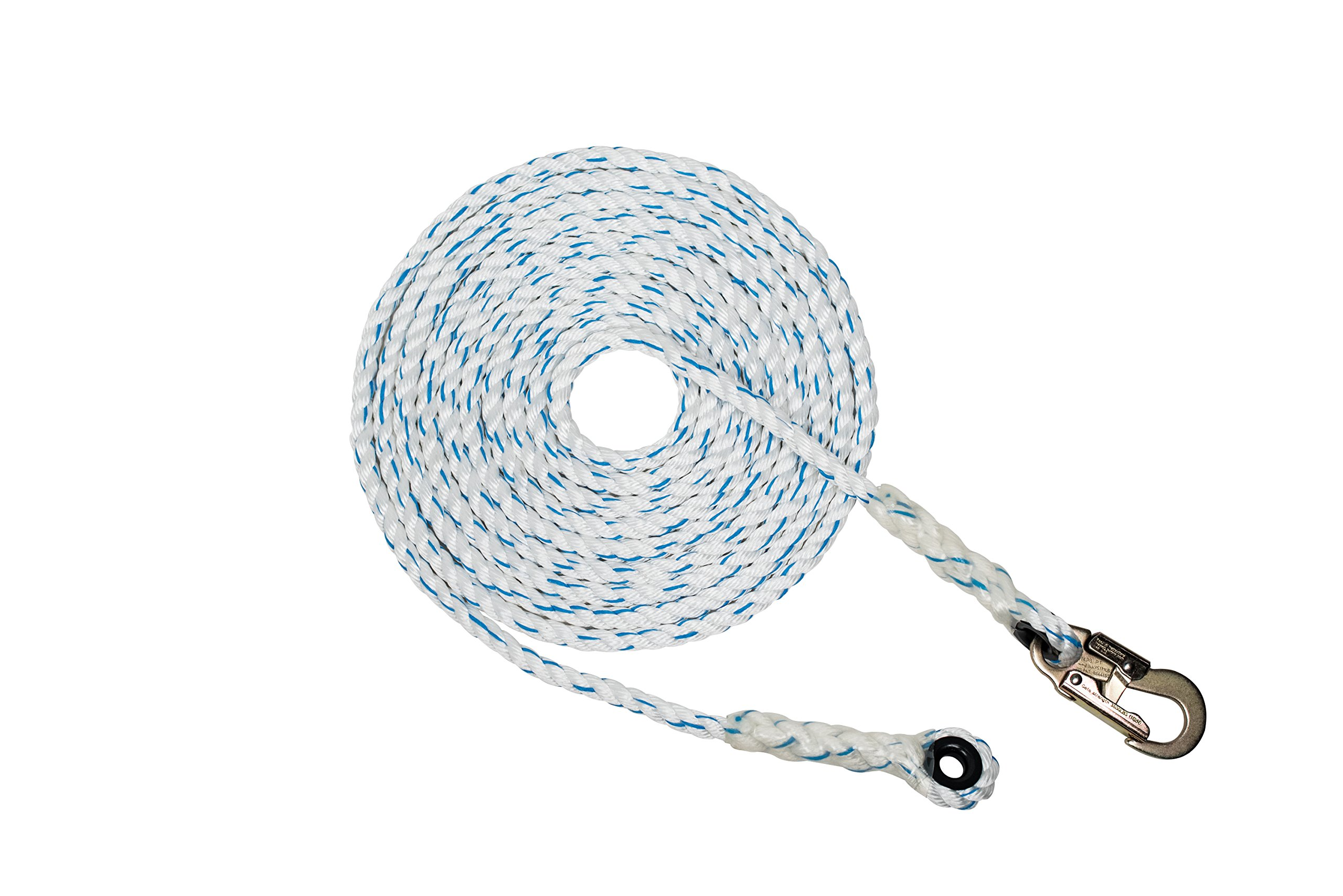 Pelican Rope (5/8 inch x 100 feet) 3-Strand Polyester Composite Vertical Lifeline Rope with Snap Hook and Thimble End by Pelican Rope (Image #1)