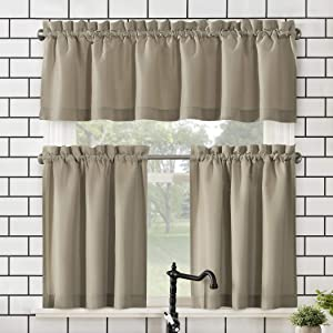 "No. 918 Martine Microfiber Semi-Sheer Rod Pocket Kitchen Curtain Valance and Tiers Set, 54"" x 24"" 3-Piece, Taupe"