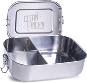 Clean Lunch'N Large Metal Bento Box - Leak-Proof Lid & Dishwasher Safe Three (3) Section Stainless Steel Lunch Box for Men, Women, Toddlers, Kids or Adults, BPA Free Food Storage