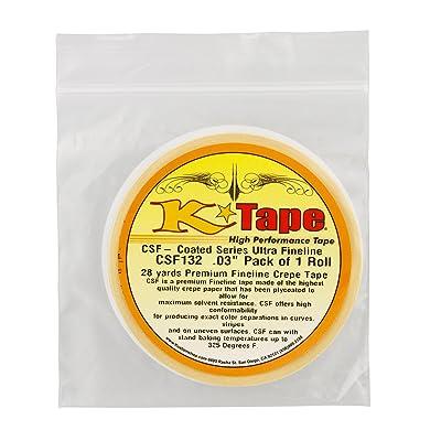 "Custom Shop CSF132 K-Tape Coated Series Micro Fineline Tape, Yellow (1/32"" X 28 Yard Roll): Automotive"
