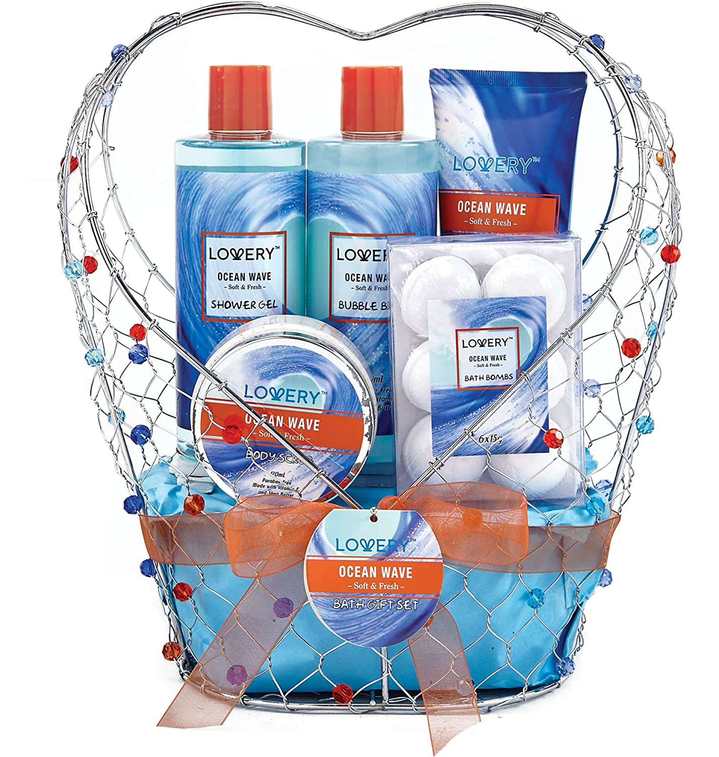 Home Spa Gift Baskets For Women - Bath and Body Gift Basket For Men – Ocean Wave Home Spa Set, Includes Fragrant Lotions, Bath Bombs & More - 11 Piece Set Packaged in Jeweled Heart Shaped Candy Holder