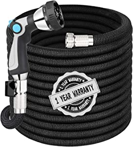 Garden Hose Expandable Hose 25FT, Flexible Water Hose with Spray Nozzle, Car Wash Hose with Solid Brass Connector, Kink Free Expanding Garden Hose for Watering and Washing