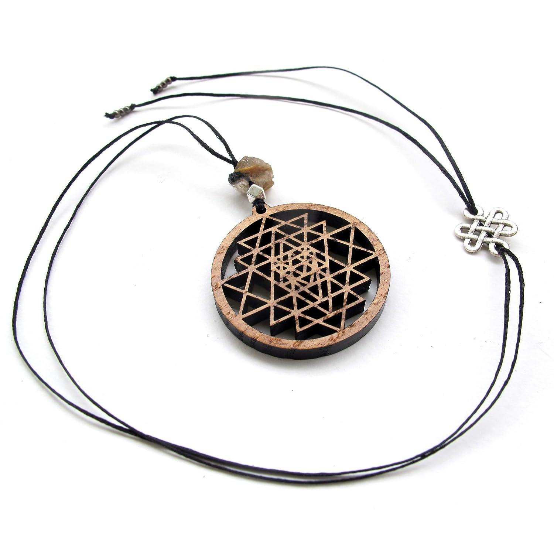 laser cut wood necklace sacred geometry Sri Yantra Pendant Shri Yantra boho necklace yoga jewelry pyrography