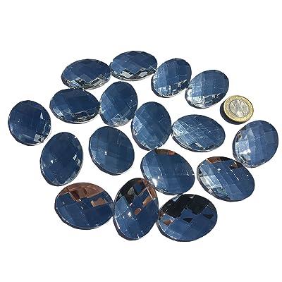 18pièces 40mm x 30mm Grand ovale glitzernde Transparent Acrylique pierre de mosaïque Transparent Clair Mélange Décoration strass pour couvrir strass rectangulaire acrylique Pierres