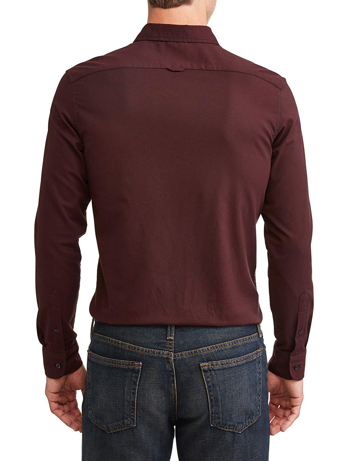 e99222d8 George Men's Long Sleeve Slim Fit Oxford Shirt with Front Chest Pocket  (Windsor Wine, X-Large XL, 46-48) at Amazon Men's Clothing store: