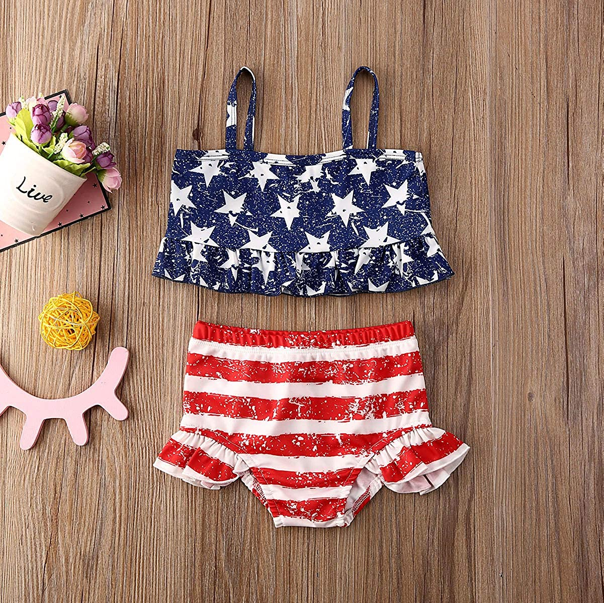 Toddler Baby Girls 2 Pieces Swimsuit Set Swimwear Tops Bikini Bottom Beachwear Bathing Suit