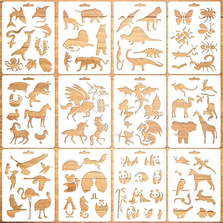 Plantillas Animal 10pcs Plantillas Pintura Hueca Plantillas Animal para Ni/ños Scrapbooking Pintura Art/ística Plastico Plantillas de Dibujo