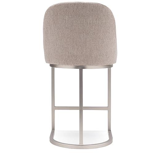 Leick Furniture Barrel Back Counter Stool Set of 2 , Pewter Oatmeal Linen