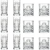 RCR Crystal Oasis Cut Glass 360ml Highball Cocktail Glasses & 320ml Whiskey Tumblers - Set of 12