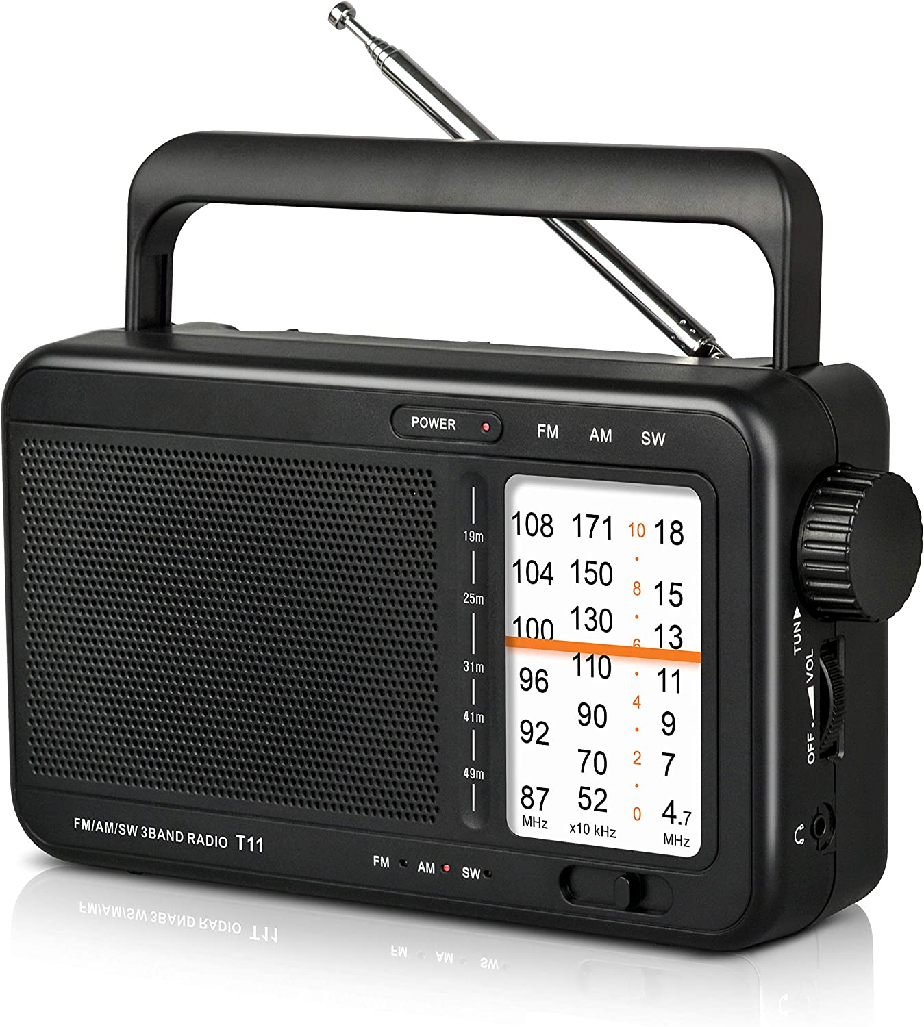 【2021 Newest Version】 AM/FM/SW Portable Radio Battery Operated Radio by 3 D Cell Batteries Or AC Power, Transistor Radio with Excellent Reception and Big Speaker, Earphone Jack,Large Knob for Home