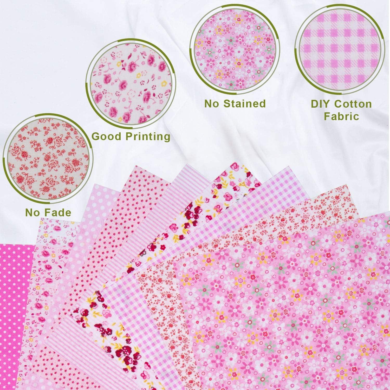 25 Set di Stoffa Patchwork a Metro Quadratini di Stoffa Tessuti Quadrati di Cotone Tessuto Cotone Stampati per Fatti a Mano 25 cm ZWOOS 56 Pezzi Tessuti Stampati