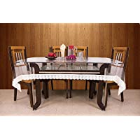Kuber Industries Dining Table Cover Transparent 6 Seater 60 * 90 Inches (White Lace)