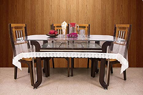 Ketsaal 6 Seater Transparent Pvc Dining Table Cover 60 X 40