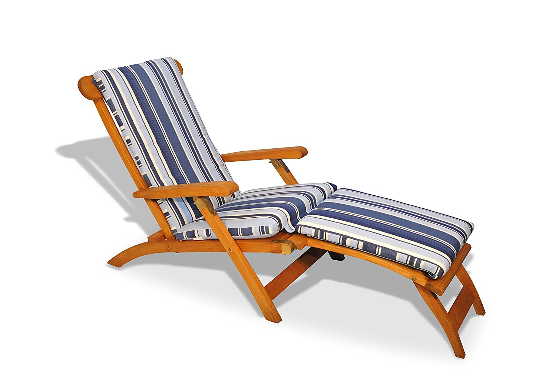 Amazon.com: Tumbona de teca con cojín, Colonial, Azul marino ...