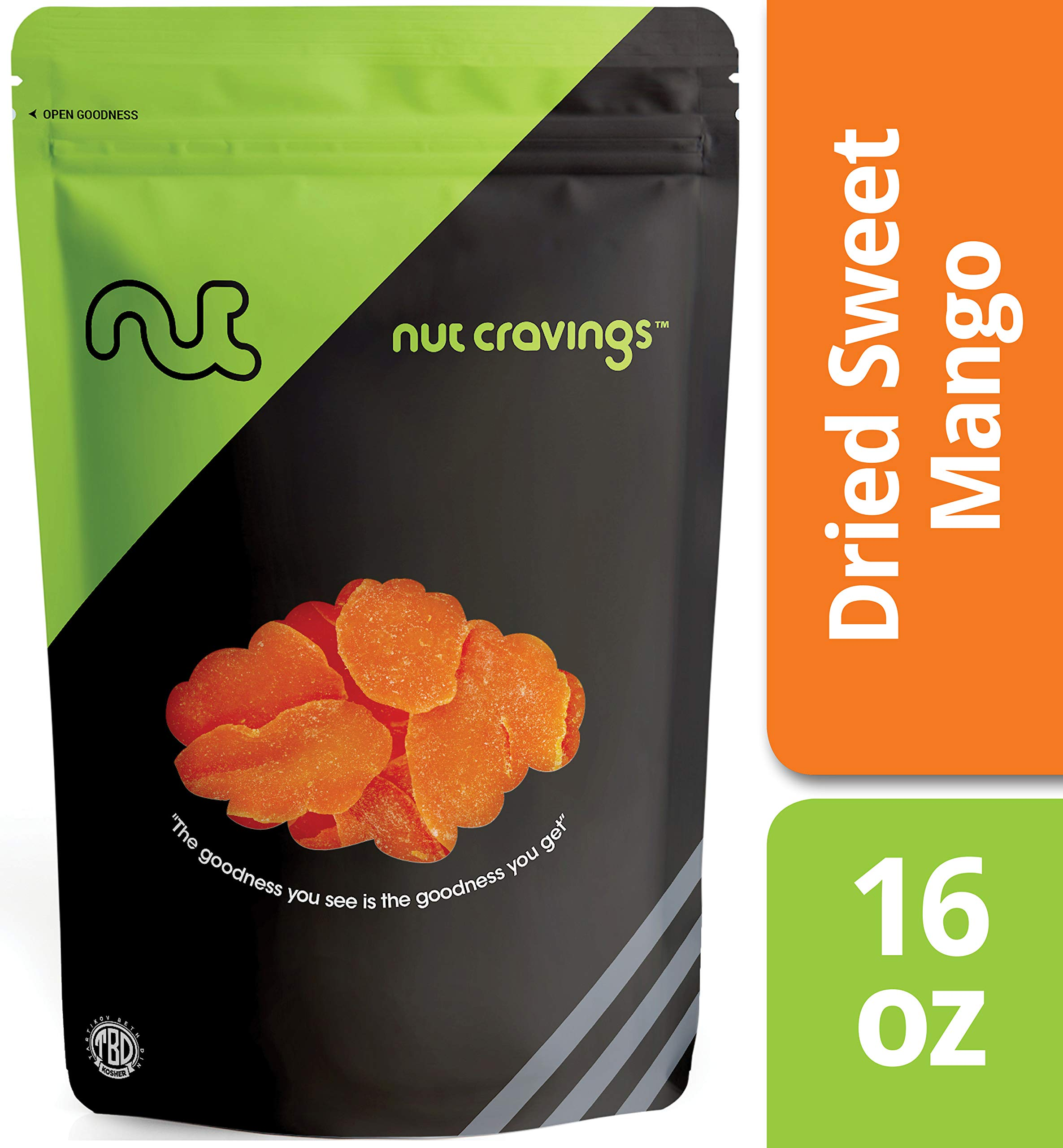 Nut Cravings Dried Mango Slices (1 Pound) - Sweet, Healthy Dehydrated Fruit Snacks - 16 Ounce by Nut Cravings