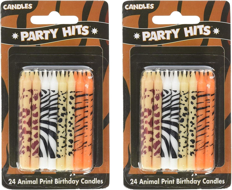 Phenomenal Amazon Com 24 Pc Safari Wild Animal Print Birthday Cake Candles Funny Birthday Cards Online Necthendildamsfinfo