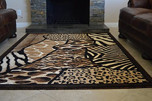 Rugs 4 Less Collection Animal Skin Prints Patchwork Leopard Area Rug R4L 70 8'X10'