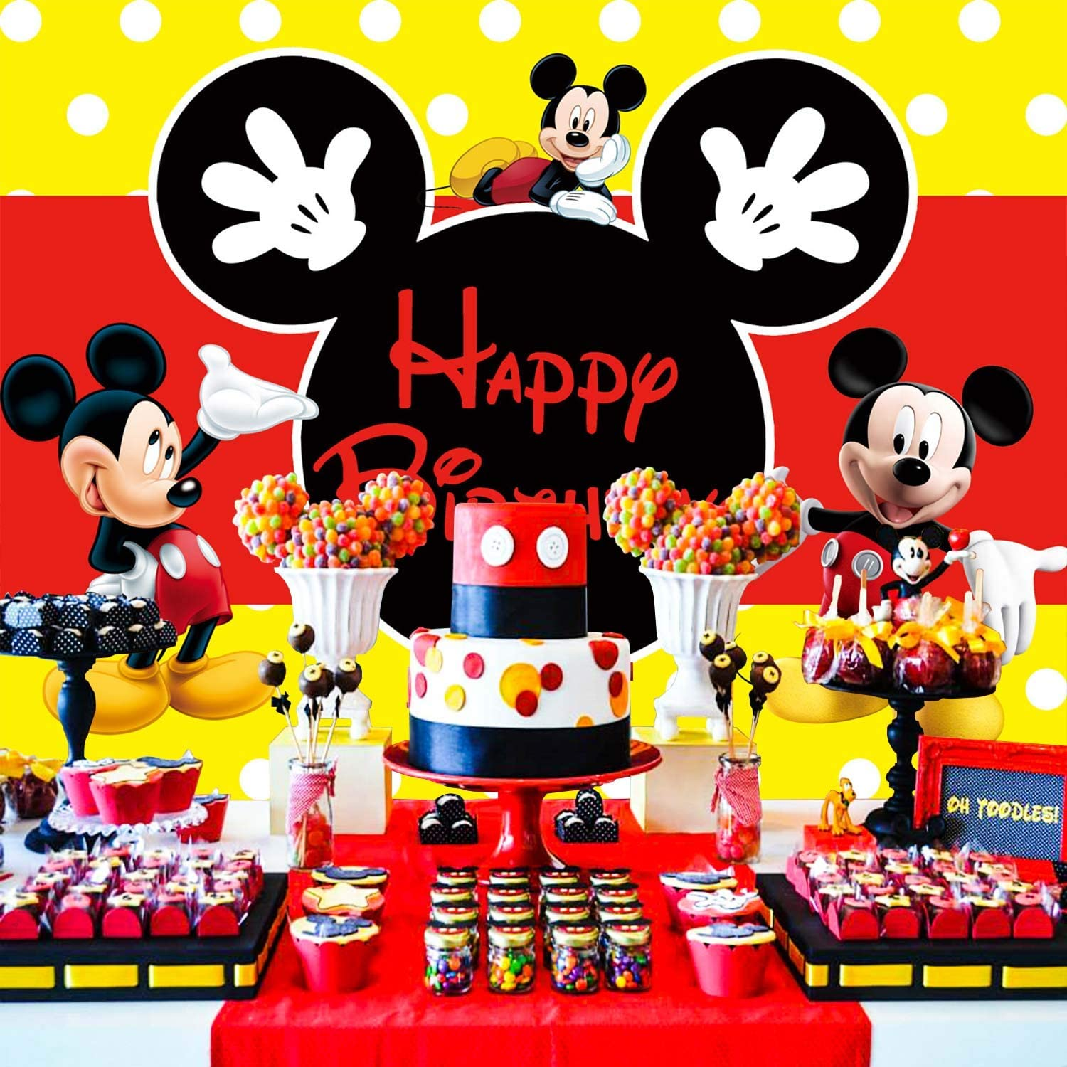 Mickey Mouse Kids Birthday Party Photography Backdrop Boys Photo Background