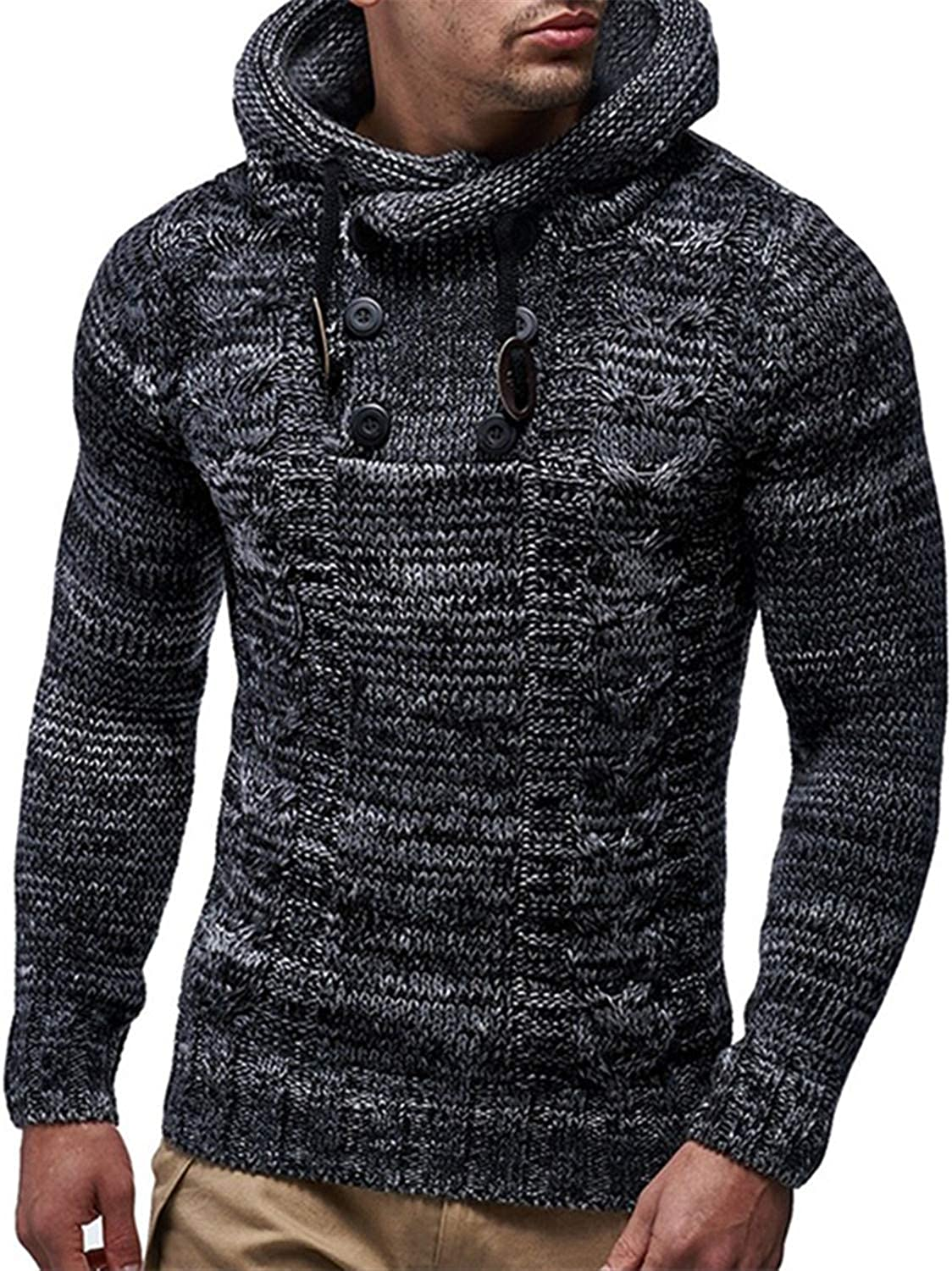 Beancan Mens Knitted Pullover Wigeo Christmas Sweater Men Twisted Double-Breasted Hooded Slim Knit Sweater