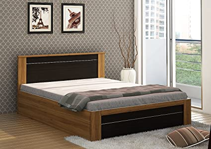 686c26f488 Spacewood Rio Queen Size Engineered Wood Bed with Box Storage (Woodpore  Finish, Natural Teak